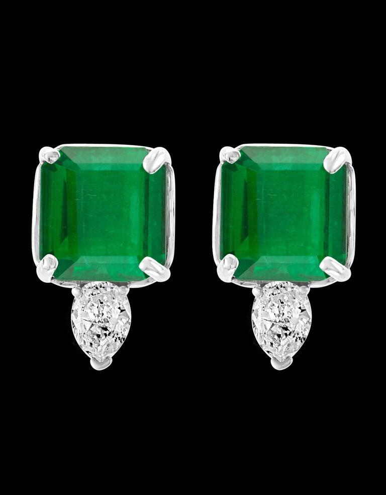 Women's 8 Carat Emerald Cut Emerald Diamond Stud Earrings 18 Karat Gold For Sale
