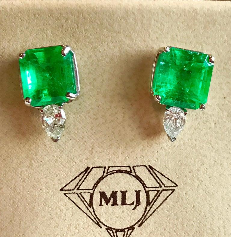 8 Carat Emerald Cut Emerald Diamond Stud Earrings 18 Karat Gold For Sale 1