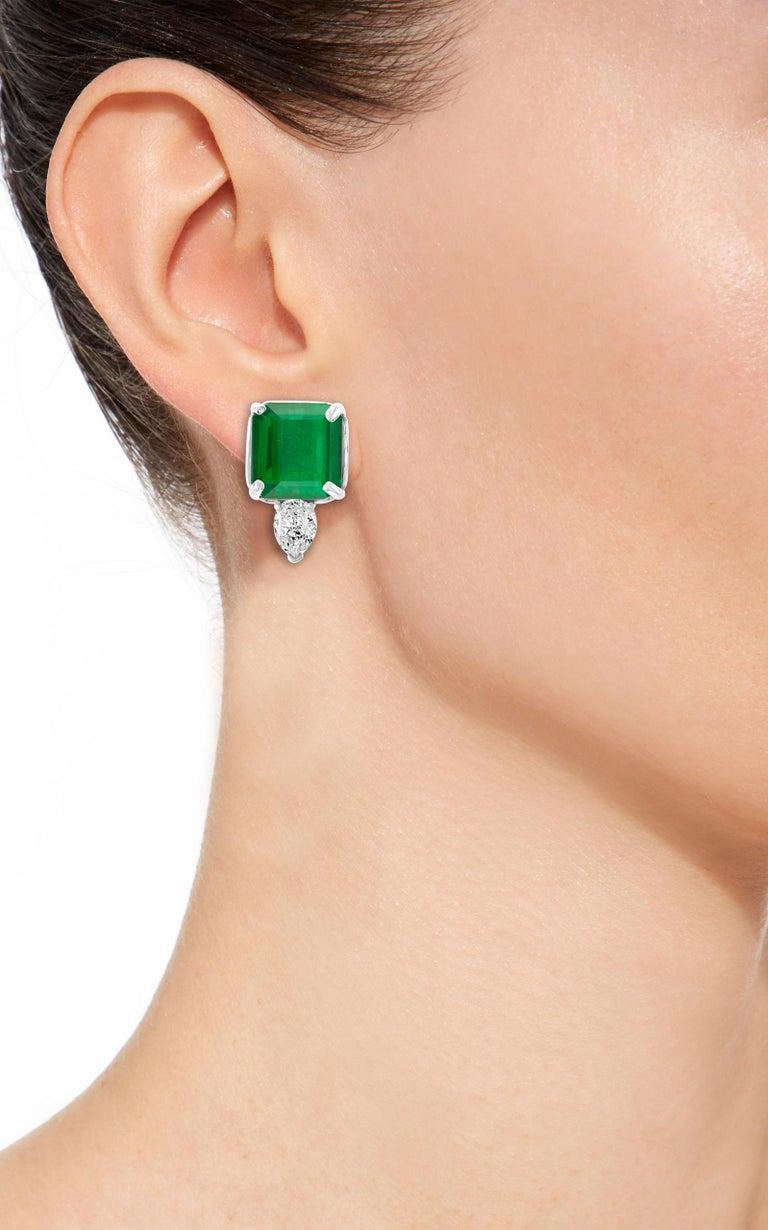 8 Carat Emerald Cut Emerald Diamond Stud Earrings 18 Karat Gold For Sale 2
