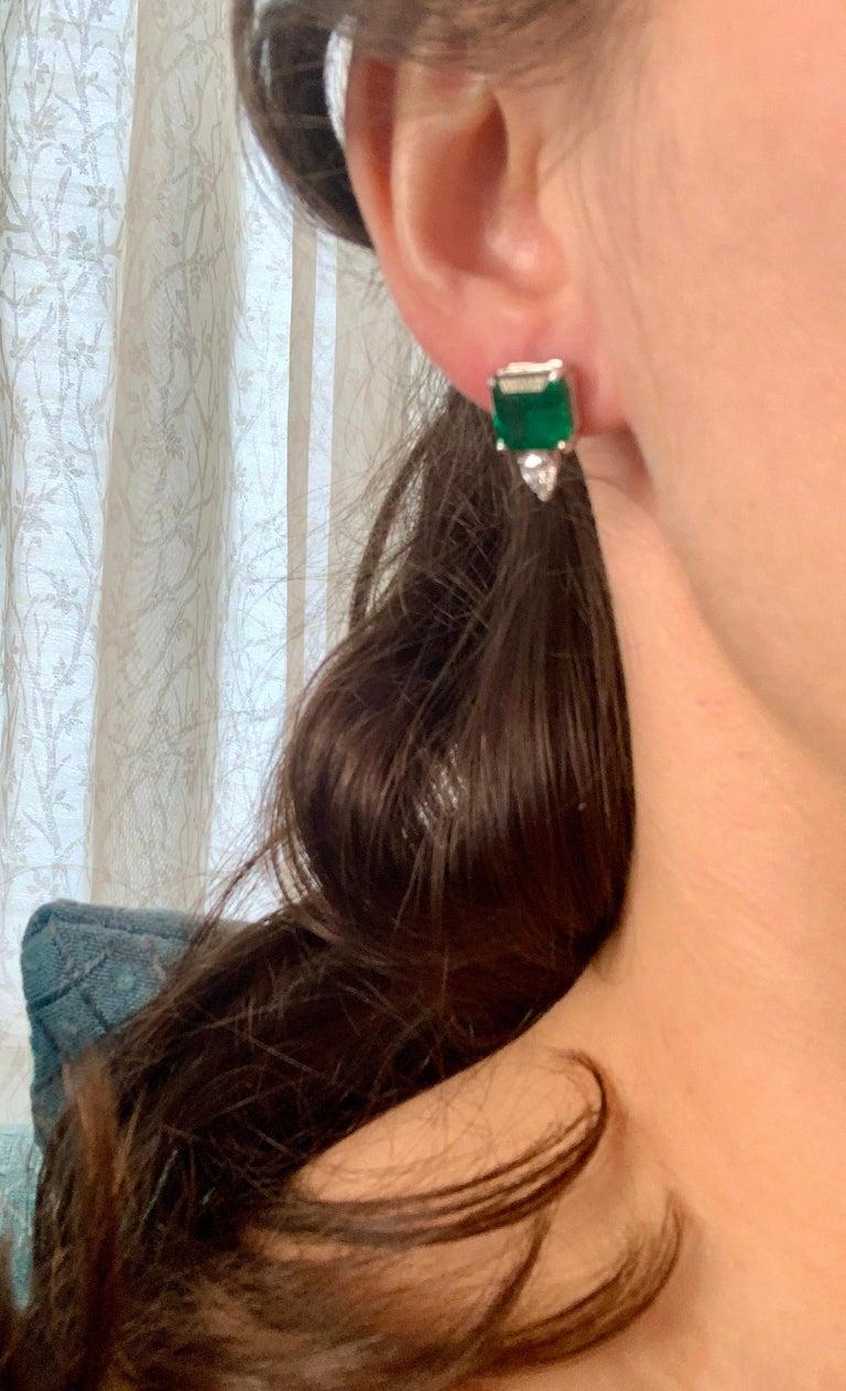 8 Carat Emerald Cut Emerald Diamond Stud Earrings 18 Karat Gold For Sale 3