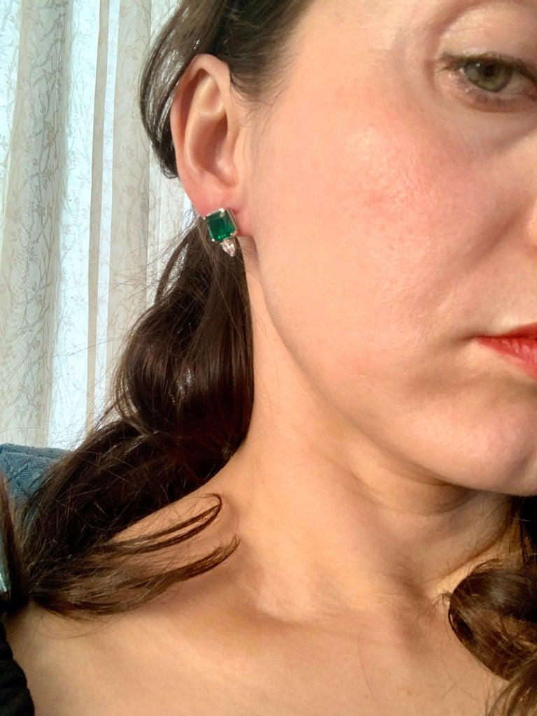 8 Carat Emerald Cut Emerald Diamond Stud Earrings 18 Karat Gold For Sale 4