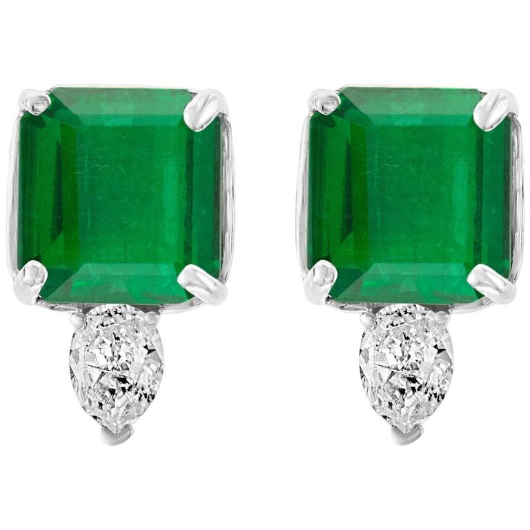 8 Carat Emerald Cut Emerald Diamond Stud Earrings 18 Karat Gold For Sale