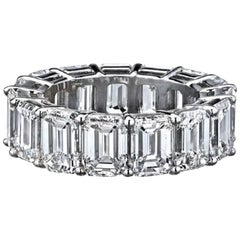 8 Carat Eternity Emerald Cut Band Ring 18 Karat