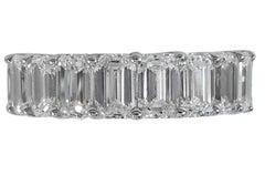 8 Carat Eternity Emerald Cut Band Ring 18 Karat