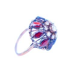8 Carat Garnet and Diamond Temple Ring 14 Karat, circa 1960s
