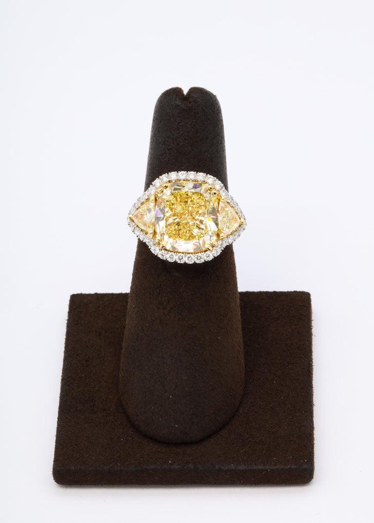 Cushion Cut 8 Carat GIA Certified Fancy Yellow Diamond Ring For Sale