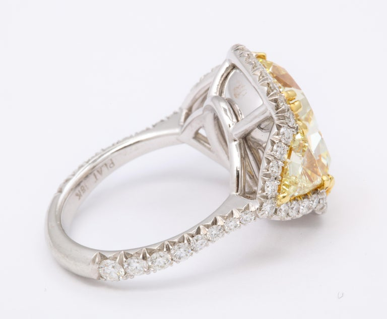 8 Carat GIA Certified Fancy Yellow Diamond Ring For Sale 1