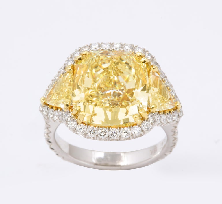 8 Carat GIA Certified Fancy Yellow Diamond Ring For Sale 2