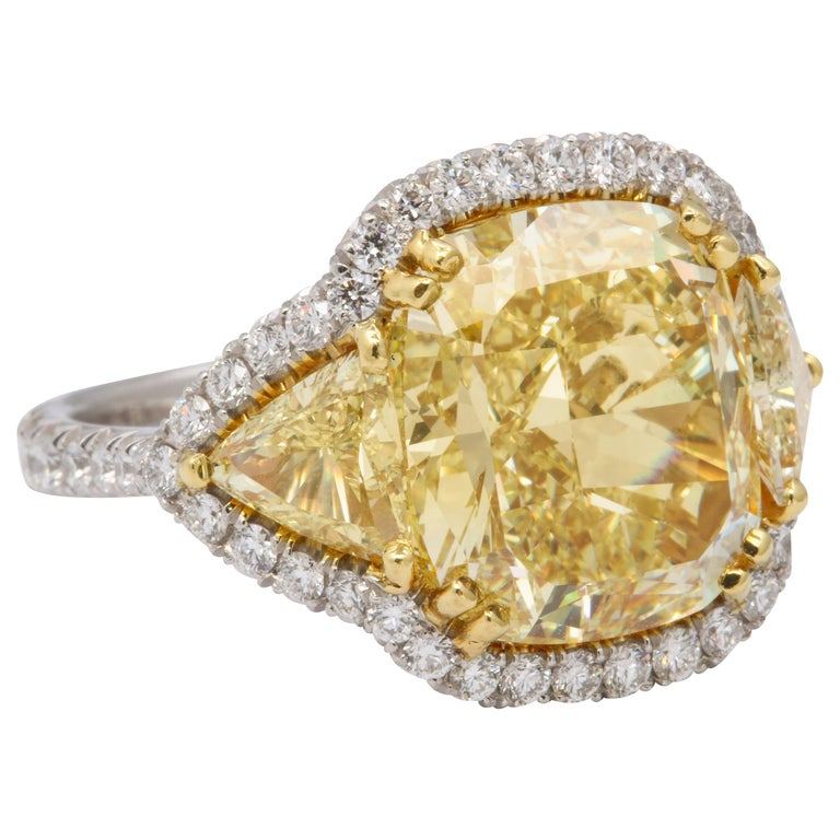 8 Carat GIA Certified Fancy Yellow Diamond Ring For Sale