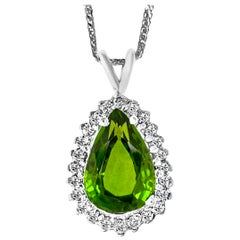 8 Carat Green Tourmaline and 1.5 Carat Diamond Pendant or Necklace 14 Karat Gold
