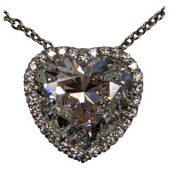 8 Carat Heart Shape Diamond E SI1 GIA, Ring or Pendant in Platinum or Gold