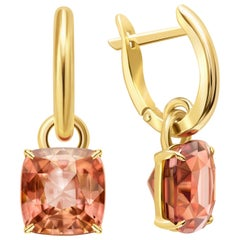 8 Carat Intense Reddish Peach Tourmaline 14 Karat Yellow Gold Earrings