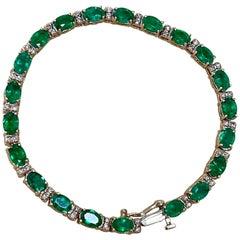 8 Carat Natural Brazilian Emerald and Diamond Tennis Bracelet 14 Karat Rose Gold