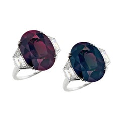 8 Carat Natural Oval Brazilian Alexandrite and Diamond Three-Stone Platinum Ring