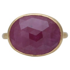 8 Carat Natural Ruby Ring Handcrafted in 22 Karat Yellow Gold