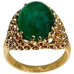 8 Carat Oval Emerald Cabochon 14 Karat Yellow Gold Cocktail Ring Vintage
