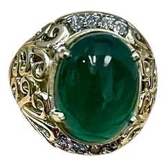 8 Carat Oval Emerald Cabochon & Diamond 14 Karat Yellow Gold Cocktail Ring