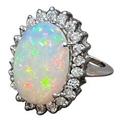 8 Carat Oval Shape Ethiopian Opal and Diamond Cocktail Ring 14 Karat White Gold
