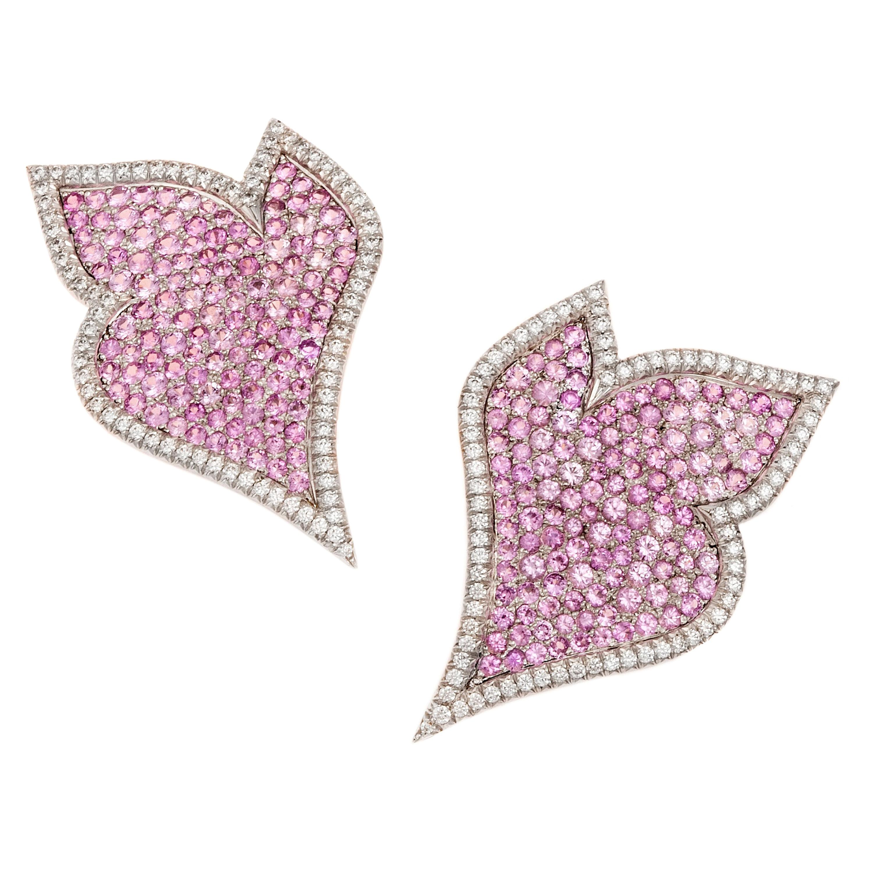 8 Carat Pink Sapphires and 1.31 Carat Diamonds 18 Kt White Gold Earrings