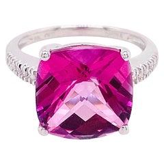 8 Carat Pink Topaz and Diamond Ring 14 Karat White Gold Cushion Cut Pink Topaz