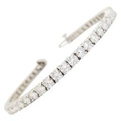 8.02 Carat Round Brilliant Natural Diamond Tennis Bracelet 14 Karat White Gold