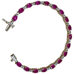 8 Carat Ruby and 1 Carat Diamond Affordable Tennis Bracelet 14 Karat White Gold