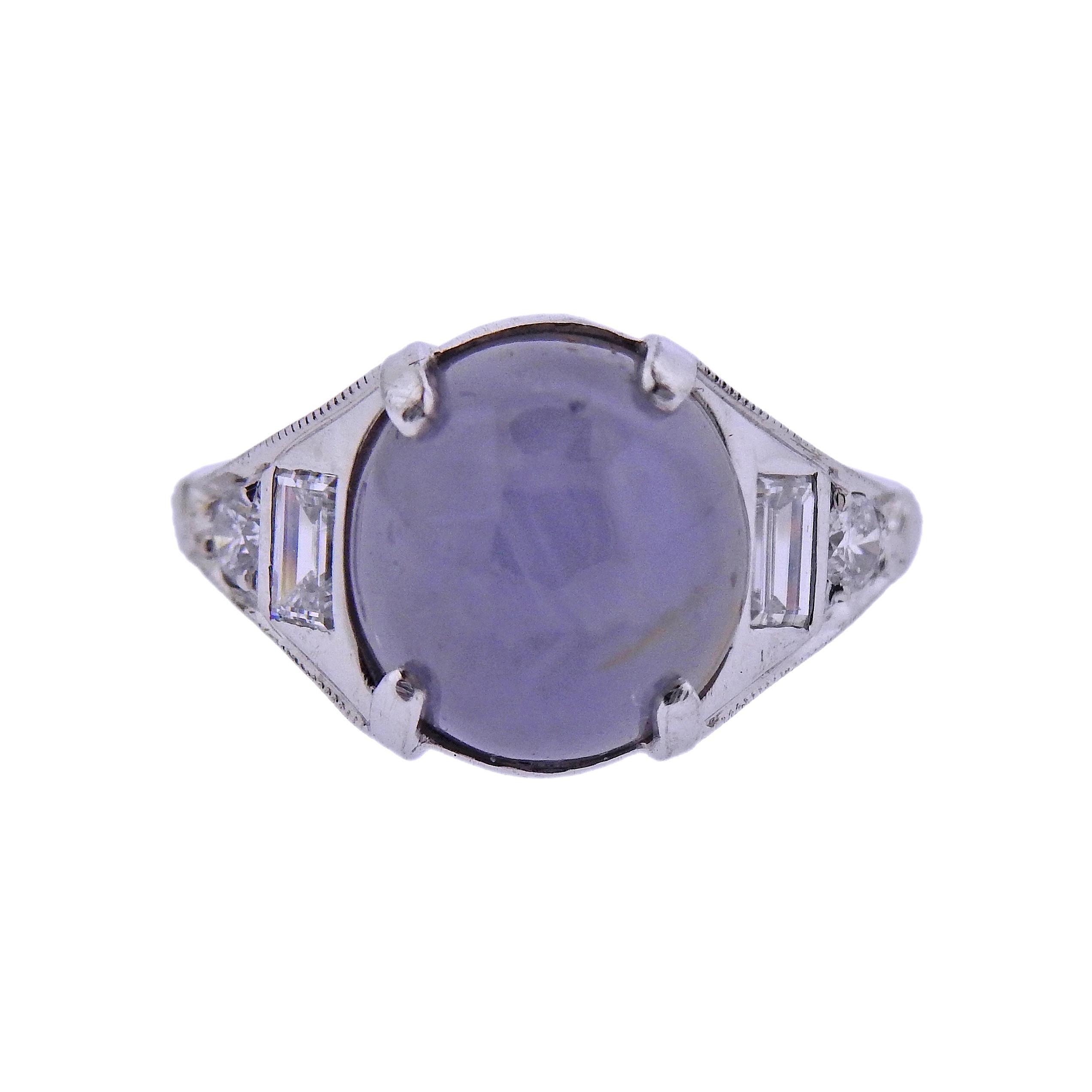 8 Carat Star Sapphire Cabochon Diamond Platinum Ring