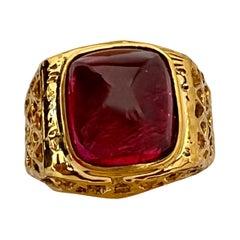 8 Carat Sugar Loaf Cabochon Pink Tourmaline 14 Karat Yellow Gold Men's Ring