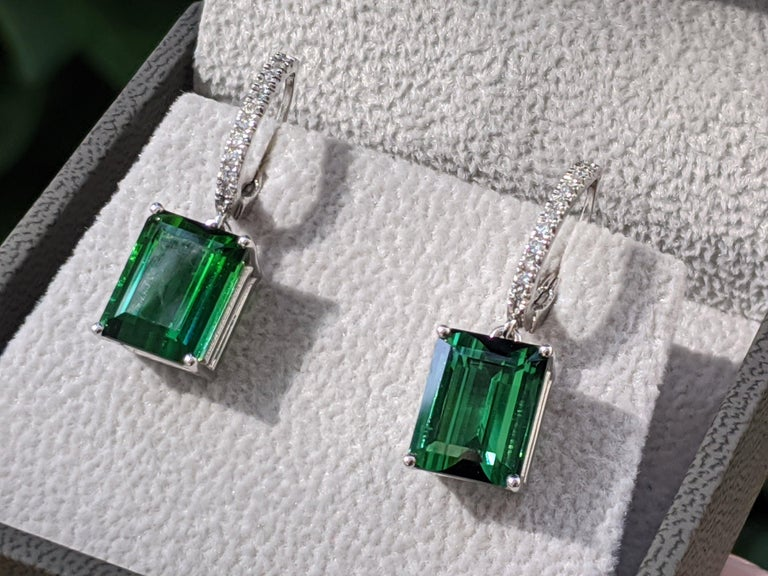 8 Carat Tourmaline and Diamond Earrings, Green Emerald Cut Tourmaline Dangle Earrings, Hairloom Earrings, Rare Find One Of a Kind Earrings    Center Stone:  Carat Weight: 4ct Natural Tourmaline Gem Quality  Color: Forest Green  Clarity: Eye Clean