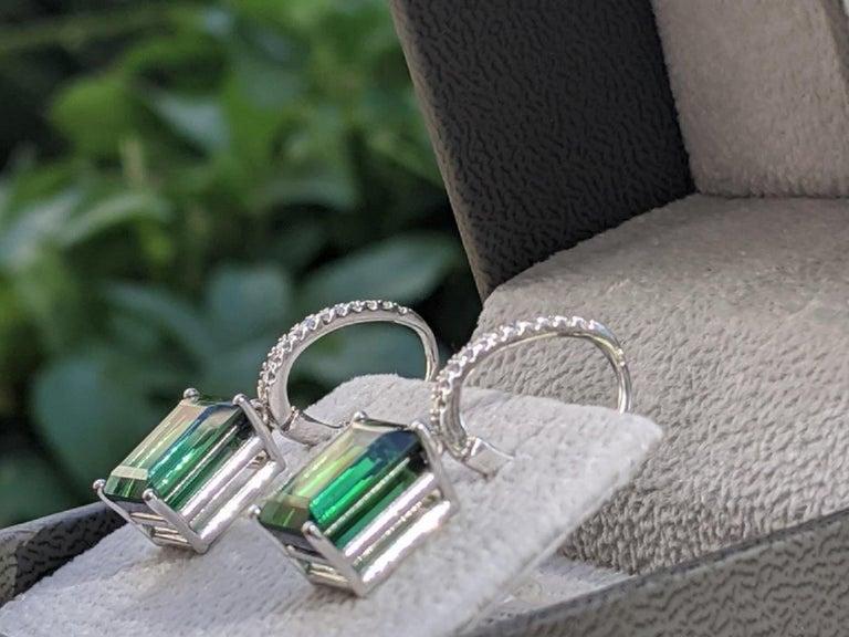 Emerald Cut 8 Carat Tourmaline and Diamond Earrings, Green Emerald Tourmaline For Sale