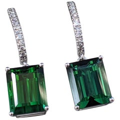 8 Carat Tourmaline and Diamond Earrings, Green Emerald Tourmaline
