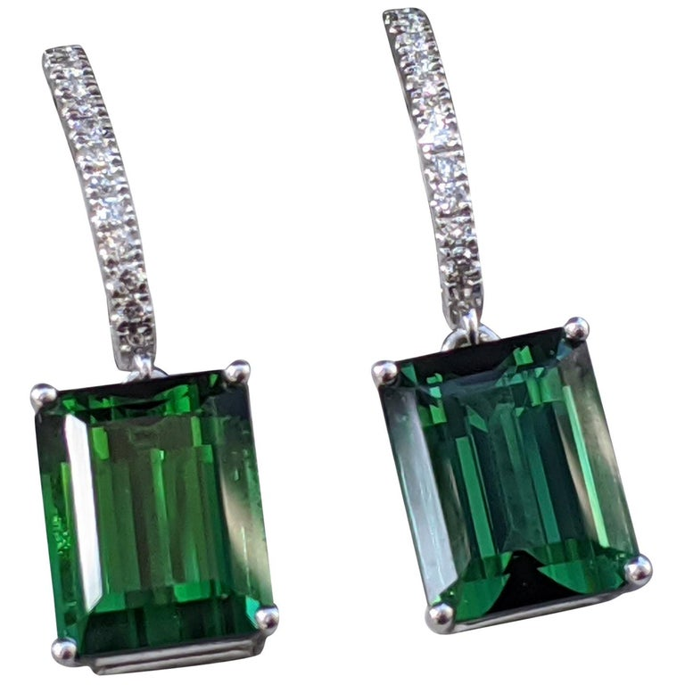 8 Carat Tourmaline and Diamond Earrings, Green Emerald Tourmaline For Sale