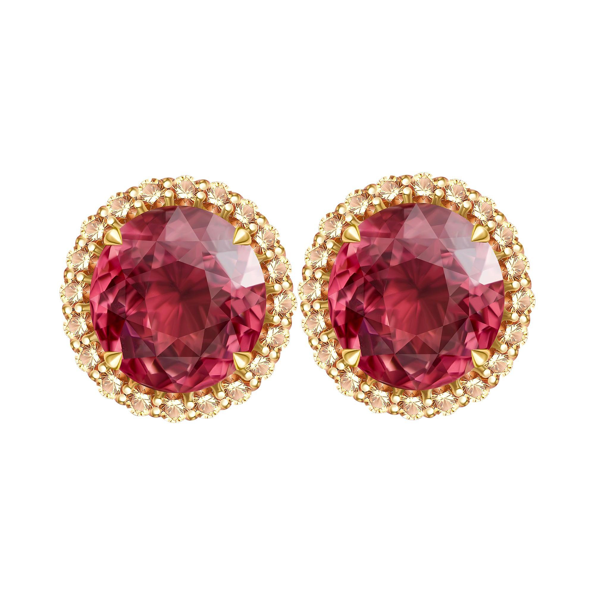 8 Carat Tourmaline Champagne Diamonds 18 Karat Yellow Gold Stud Earrings