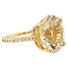 8 Carat Yellow Emerald & Diamond Cocktail Ring in Yellow Gold, Yellow Beryl Gem