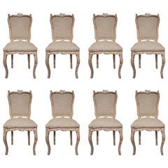 8 Carved Wood and Beige Silk Fabric Early 20th Century Italian Chairs