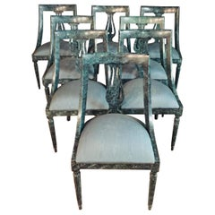 8 Chairs in the Modern Empire Style Turquoise Marbled