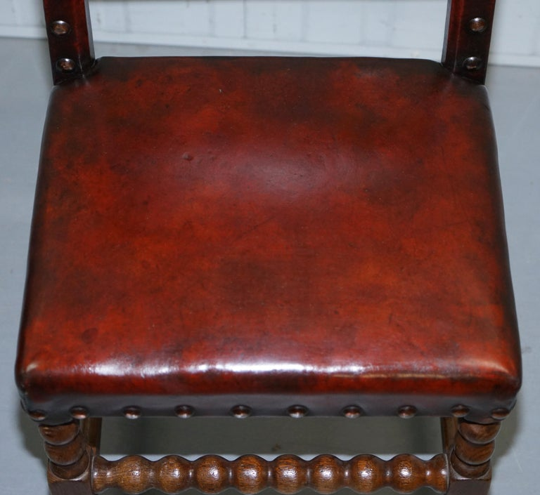 8 Solid Oak Bobbin Restored Hand Dyed Brown Leather Dining Chairs, circa 1900 For Sale 5