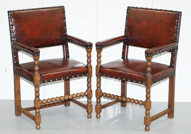 8 Solid Oak Bobbin Restored Hand Dyed Brown Leather Dining Chairs, circa 1900 For Sale 6