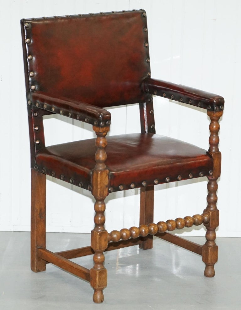 8 Solid Oak Bobbin Restored Hand Dyed Brown Leather Dining Chairs, circa 1900 For Sale 7