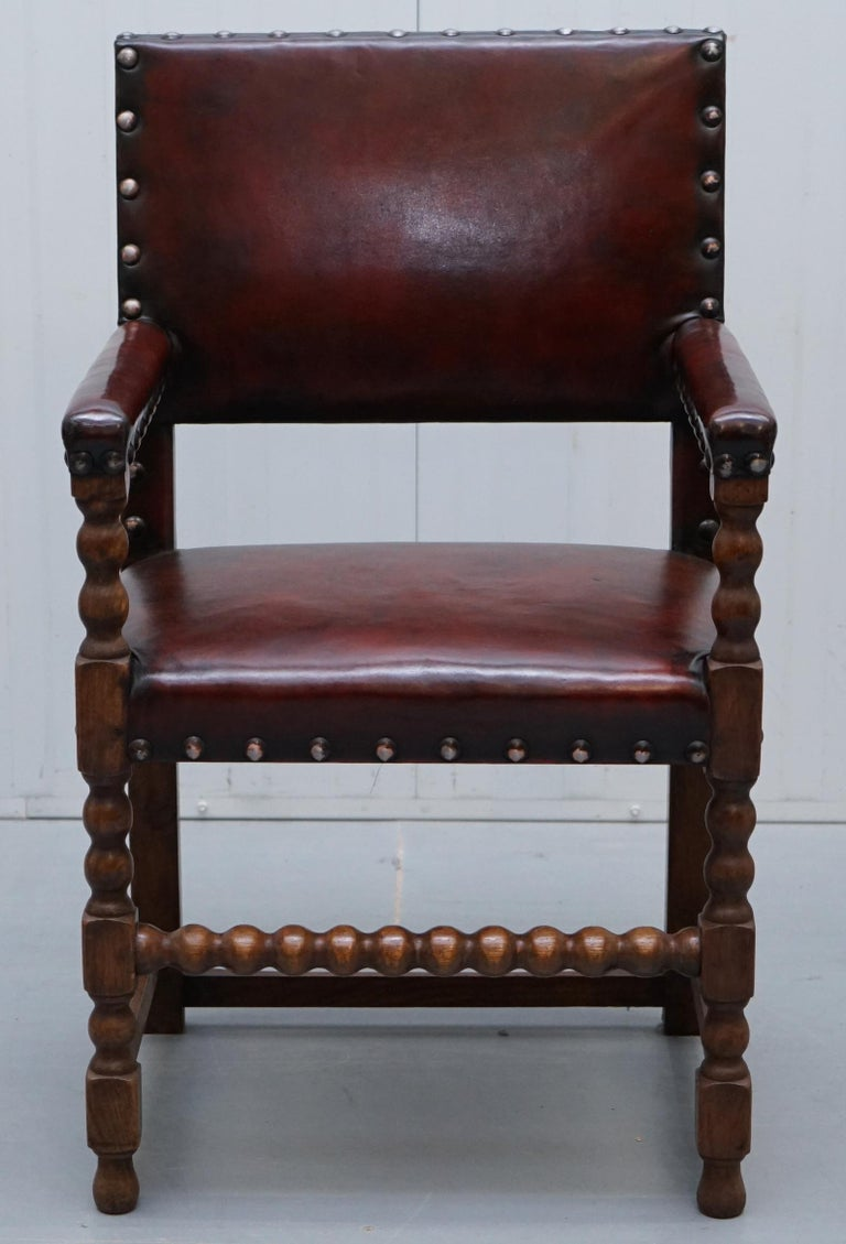 8 Solid Oak Bobbin Restored Hand Dyed Brown Leather Dining Chairs, circa 1900 For Sale 8