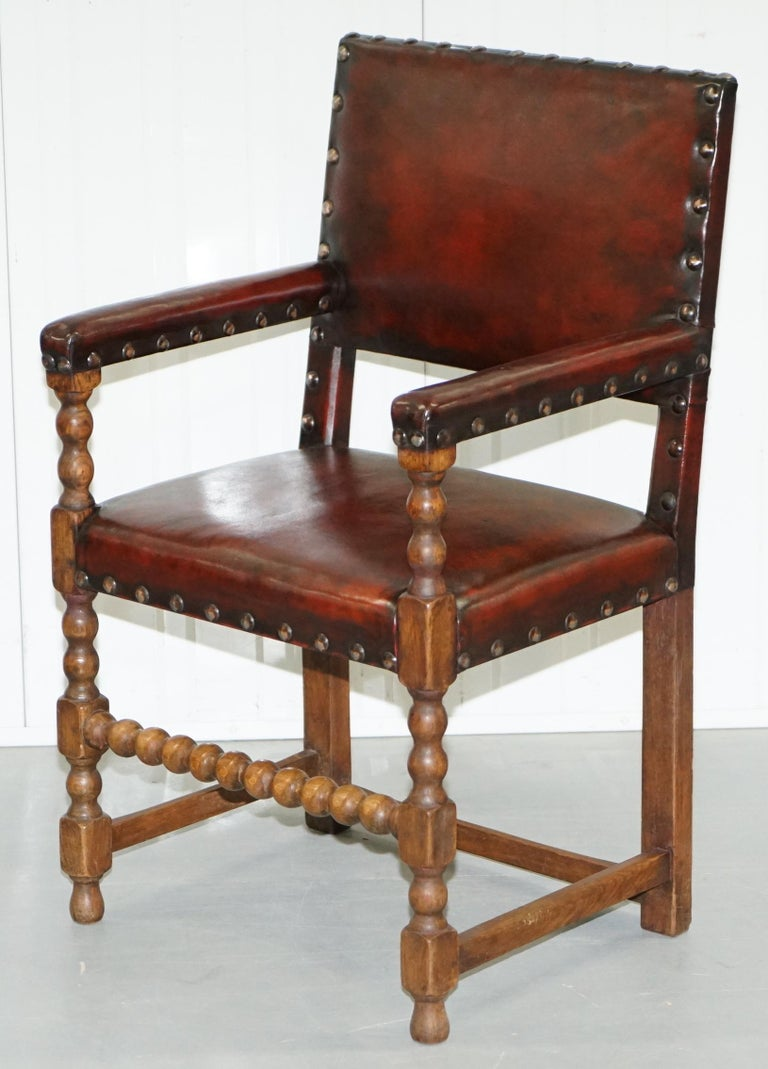 8 Solid Oak Bobbin Restored Hand Dyed Brown Leather Dining Chairs, circa 1900 For Sale 9