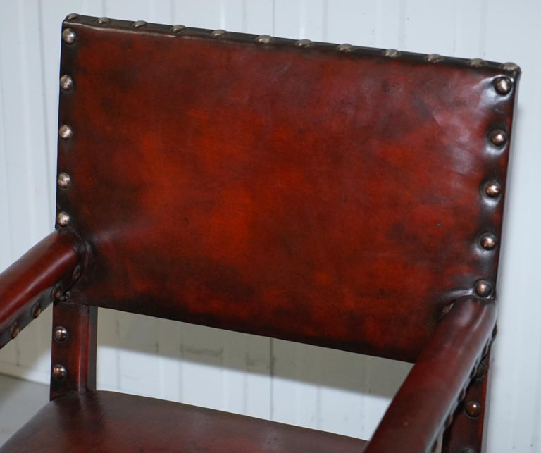 8 Solid Oak Bobbin Restored Hand Dyed Brown Leather Dining Chairs, circa 1900 For Sale 10