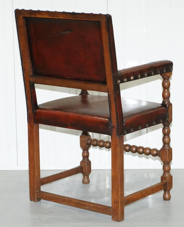 8 Solid Oak Bobbin Restored Hand Dyed Brown Leather Dining Chairs, circa 1900 For Sale 13