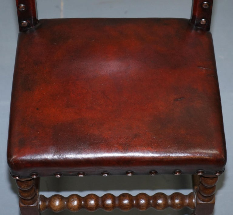 Hand-Crafted 8 Solid Oak Bobbin Restored Hand Dyed Brown Leather Dining Chairs, circa 1900 For Sale