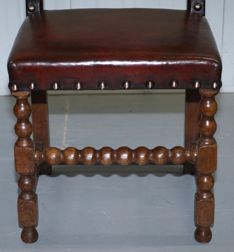 8 Solid Oak Bobbin Restored Hand Dyed Brown Leather Dining Chairs, circa 1900 For Sale 1