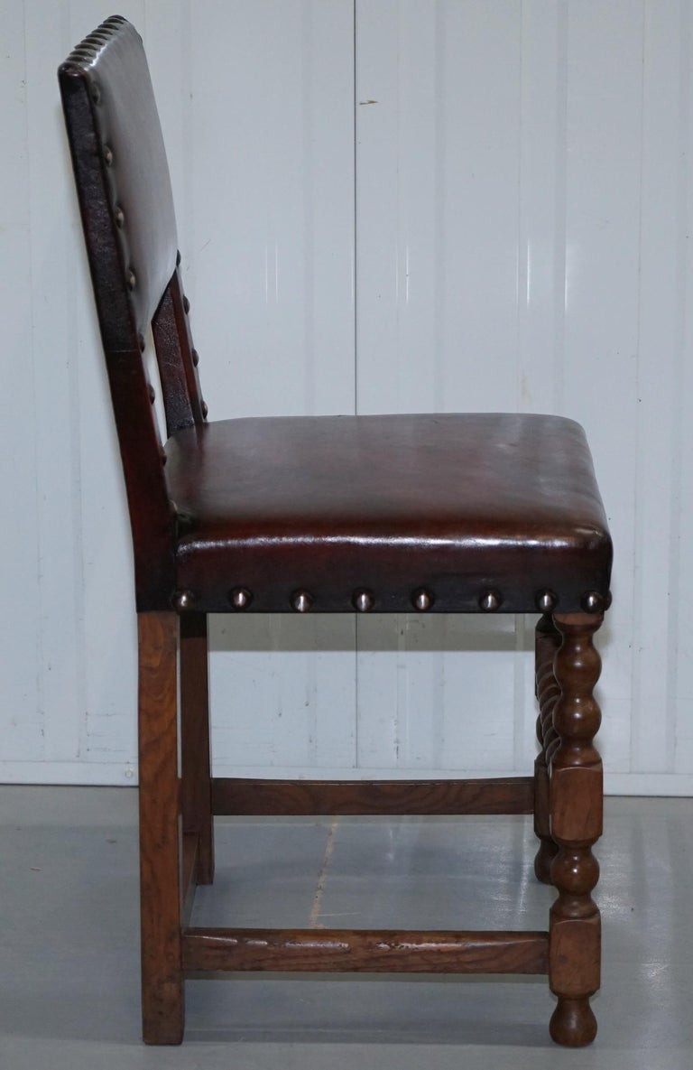 8 Solid Oak Bobbin Restored Hand Dyed Brown Leather Dining Chairs, circa 1900 For Sale 2