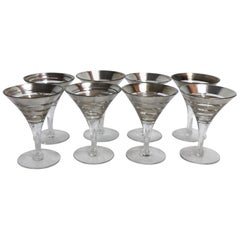 8 Concentric Ring Silver Band Martini Cocktail Glasses after Dorothy Thorpe