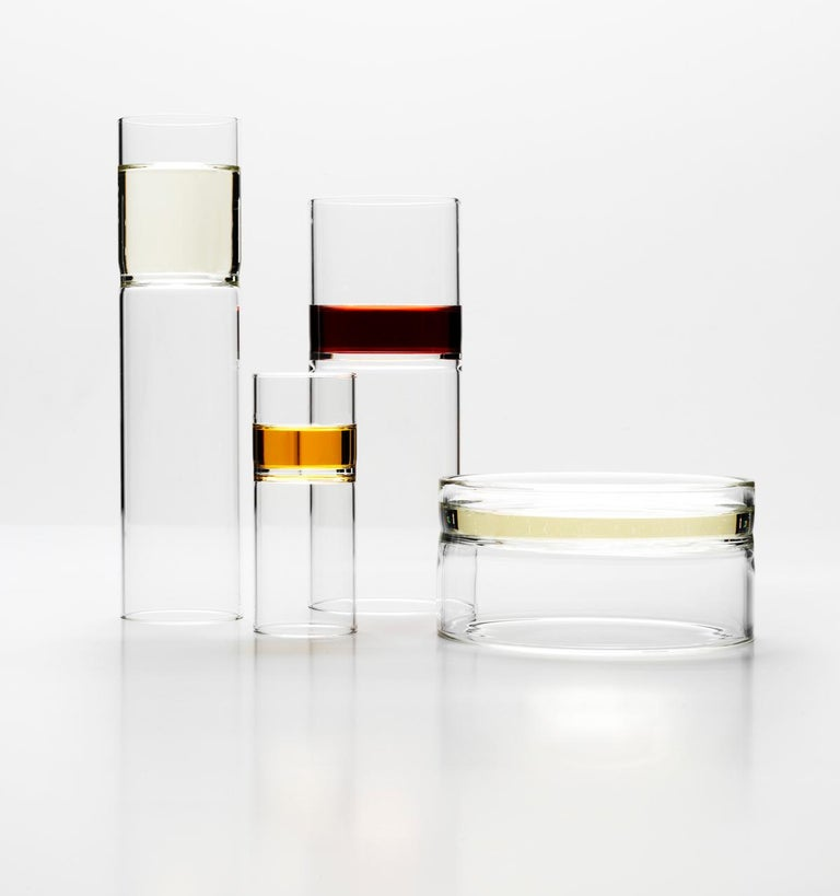 EU Clients 8 Contemporary Minimal Clear Champagne Flute Glasses Czech in Stock In New Condition For Sale In Milan, IT