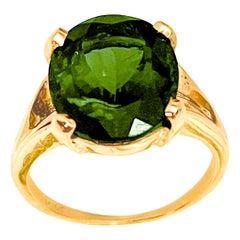 8 Ct Natural Oval Cut Green Tourmaline Ring in 14 Karat Yellow Gold