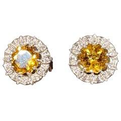 8 Ct Round Natural Citrine Earrings 18 Karat White Gold Omega Backs